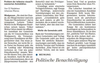 Ein Bürgermeister-Kandidat wie Egbert Ulrich von der CDU kann im Wadgasser Amtsblatt kostenlos werben. Ein freier Kandidat wie Sebastian Greiber muss bezahlen: ein Konzept-Problem der teilweise steuerfinanzierten Amtsblätter