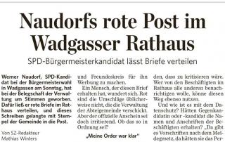 Saarbrücker Zeitung: Naudorfs rote Post im Wadgasser Rathaus