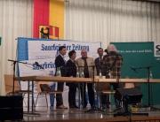 Sebastian Greiber in der Podiumsdiskussion mit den anderen Kandidaten zur Bürgermeisterwahl in Wadgassen
